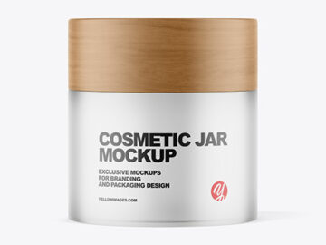 Frosted Glass Cosmetic Jar with Wood Cap Mockup