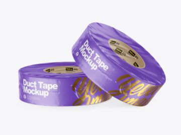 Two Matte Shrink Wrapped Duct Tapes Mockup
