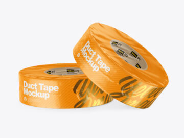 Two Textured Shrink Wrapped Duct Tapes Mockup